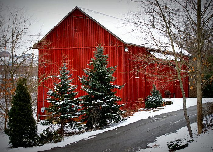 Farm Photographs Greeting Card featuring the photograph The Barn In Wintertime by Jeanne Geidel-Neal