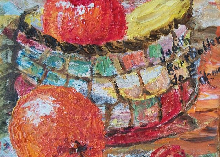 Basket Greeting Card featuring the painting The Basket - Sold by Judith Espinoza