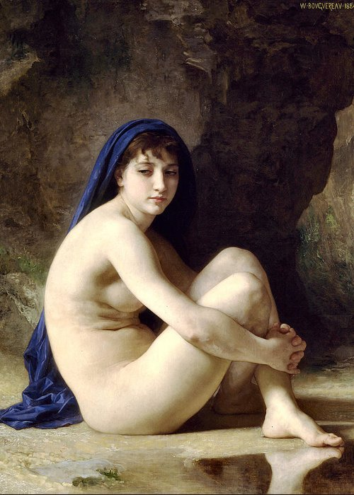 The Bather Greeting Card featuring the digital art The Bather by William Bouguereau