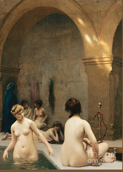 Academic Greeting Card featuring the painting The Bathers by Jean Leon Gerome