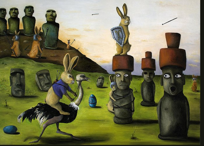 Bunny Greeting Card featuring the painting The Battle Over Easter Island by Leah Saulnier The Painting Maniac