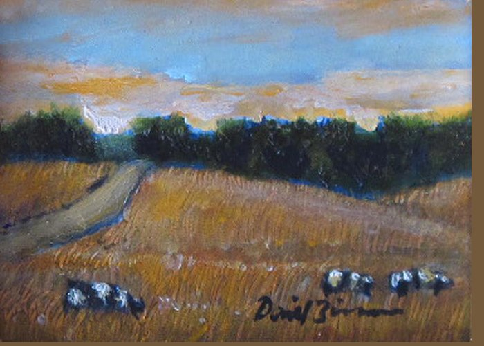Cow Paintings Greeting Card featuring the painting The Battlefield by David Zimmerman