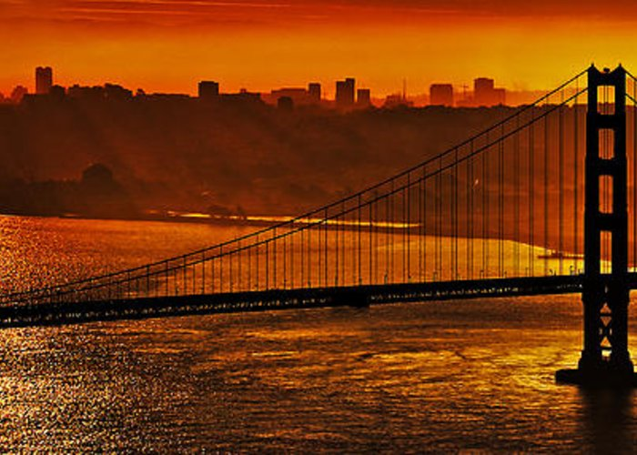 Golden Gate Bridge Greeting Card featuring the photograph The Bay by James Farrant