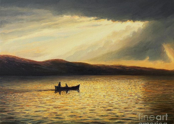 Nature Greeting Card featuring the painting The Bay Of Silence by Kiril Stanchev