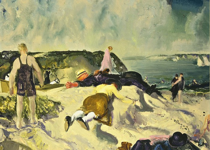 1910s; 1910's; 1919; 20th Century; Adult; American Artist; American Painting; Apparel; Artist American; Artist-american; Artwork; Ashcan School; Attire; Beach; Bellows; Caucasian; Caucasian Ethnicity; Cliff; Clothes; Clothing; Cloud; Cloudy; Coast; Coastal; Coastline; Day; Daytime; Dress; Early 20th Century; Early Twentieth Century; Ethnic Origin; Female; Freetime; George Bellows; George Wesley Bellows; Group; Human; Leisure; Leisure & Pastimes; Leisurely; Lying; Lying Down; Lying On Front; Greeting Card featuring the painting The Beach Newport by George Wesley Bellows