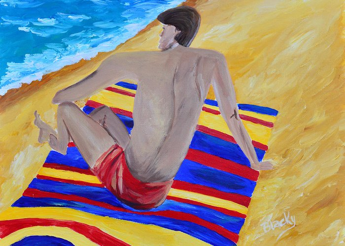 Man Greeting Card featuring the painting The Beach Towel by Donna Blackhall