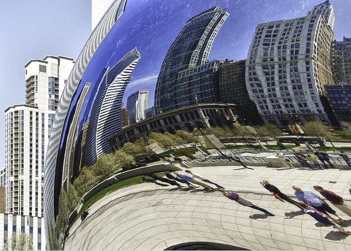 Chicago Photographs Greeting Card featuring the photograph The Bean In Chicago-003 by David Allen Pierson
