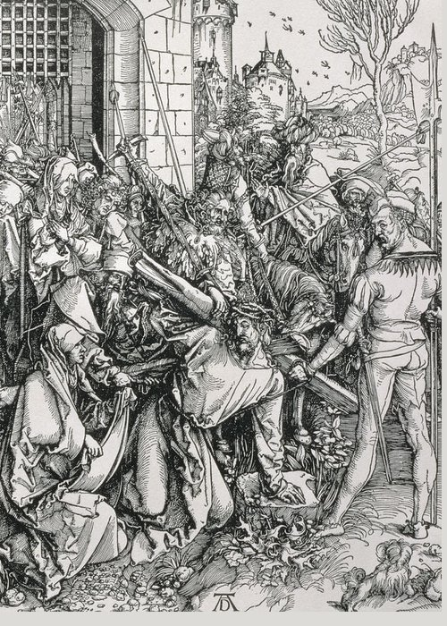 Print Greeting Card featuring the painting The Bearing Of The Cross From The 'great Passion' Series by Albrecht Duerer