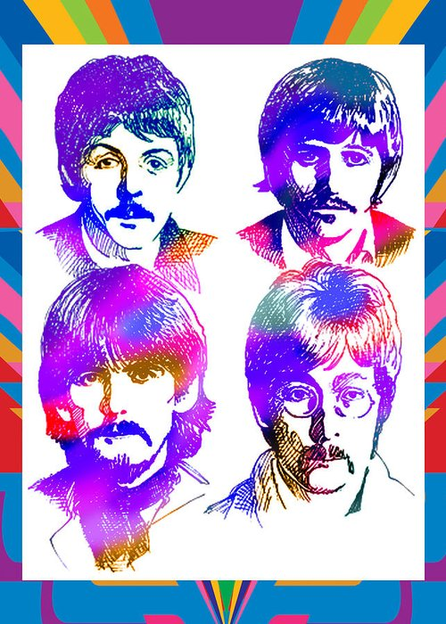 The Beatles Portrait People Realism Graphic Novels Friar Book Covers Korhonen Digital Abstract People Photo Illustration Realism Graphic Novels Book Covers Conceptual Information Design Digital Current Events Line With Color Figurative Stylized Masculine Boysamericana Annual Report Education Family Urban Poster John Lennon Paul Mccartney George Harrison Ringo Starr Liverpool Album Rock Ballad Singer Songwriters Guitar Drums Amp Microphone Hair Boots White Rubber Soul Sgt Pepper Rickenbacker Greeting Card featuring the painting The Beatles Art by Robert Korhonen