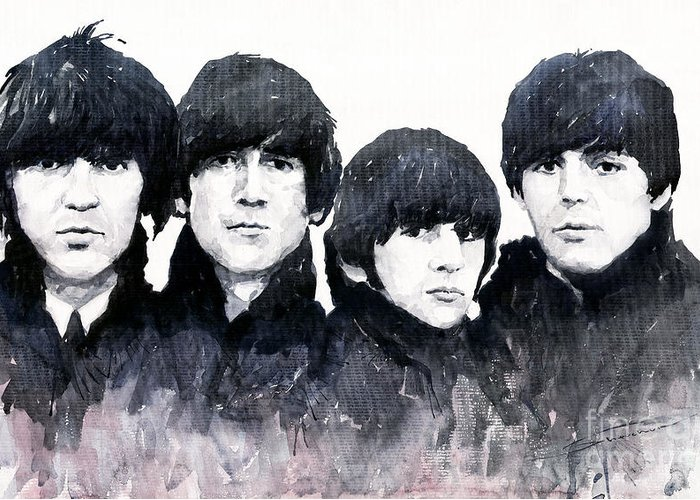 Watercolour Greeting Card featuring the painting The Beatles by Yuriy Shevchuk
