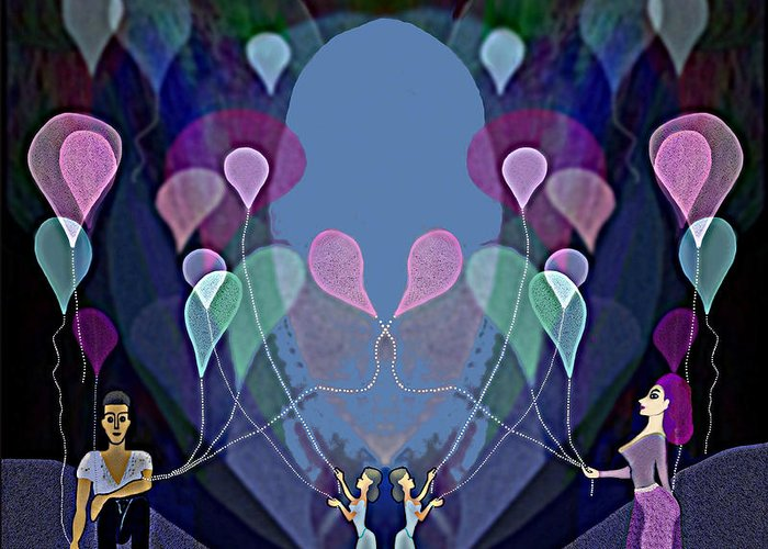 Fun Greeting Card featuring the digital art The Beautiful Balloons - 499 by Irmgard Schoendorf Welch