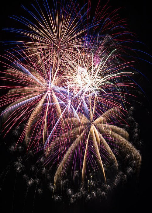 Awesome Fireworks Lights Up The Darkness Greeting Card featuring the photograph The Beauty Of Fireworks by Garry Gay