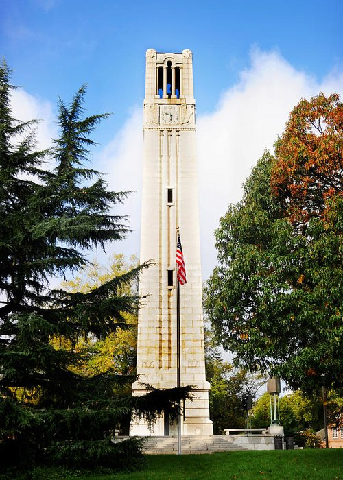 Bell Tower Greeting Card featuring the photograph The Belltower At Nc State University by Val Stone Creager