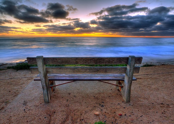 Beach Art Greeting Card featuring the photograph The Bench II by Peter Tellone