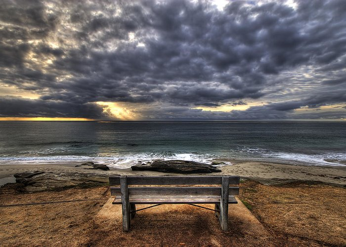 Ocean Greeting Card featuring the photograph The Bench by Peter Tellone