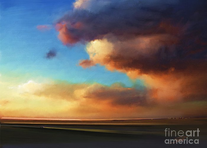 Sunset Greeting Card featuring the painting The Best of the West by - Artificium -