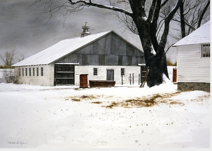 Landscape Greeting Card featuring the painting The Big Barn by Tom Wooldridge