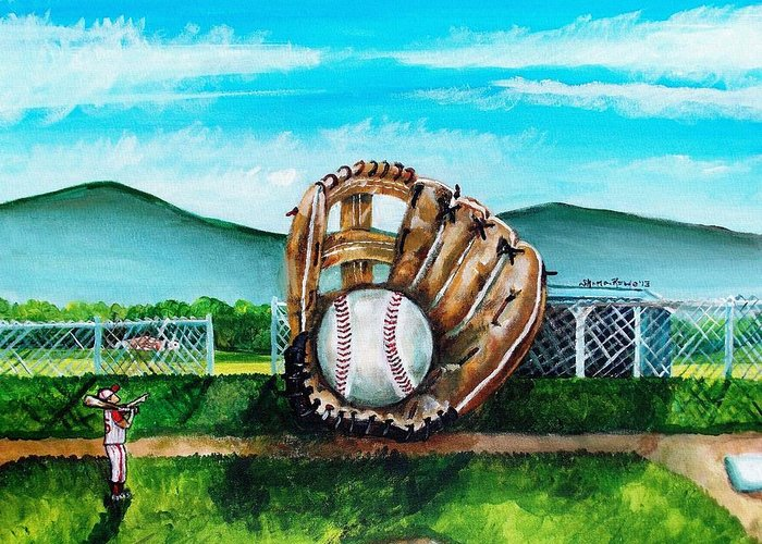 Baseball Greeting Card featuring the painting The Big Leagues by Shana Rowe Jackson