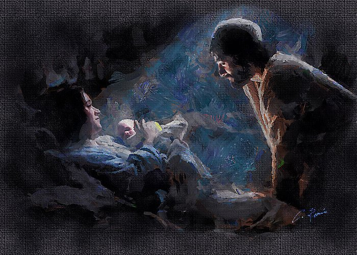 Jesus Greeting Card featuring the digital art The Birth by Charlie Roman