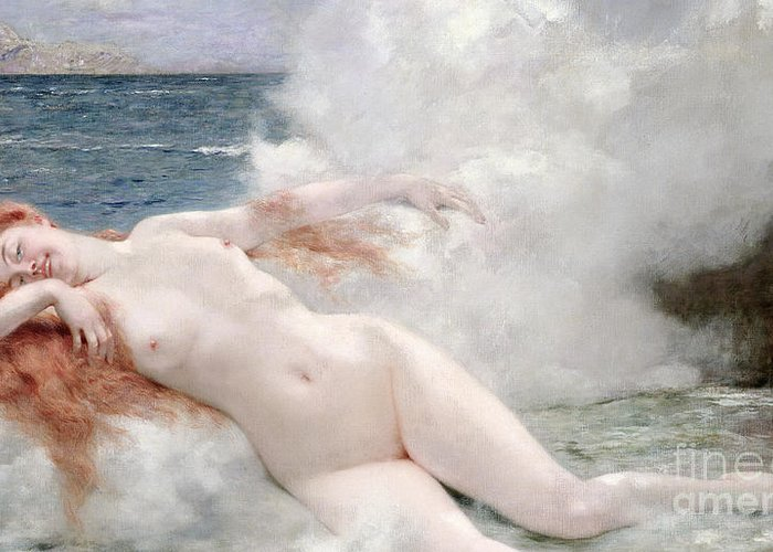 La Naissance De Venus Greeting Card featuring the painting The Birth Of Venus by Henri Gervex