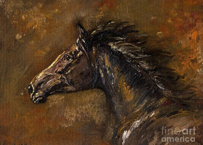 Horse Greeting Card featuring the painting The Black Horse Oil Painting by Angel Ciesniarska