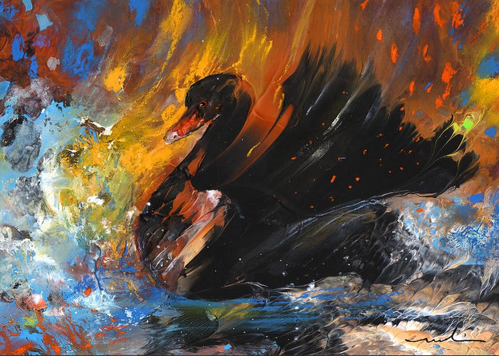 Fantasy Greeting Card featuring the painting The Black Swan by Miki De Goodaboom