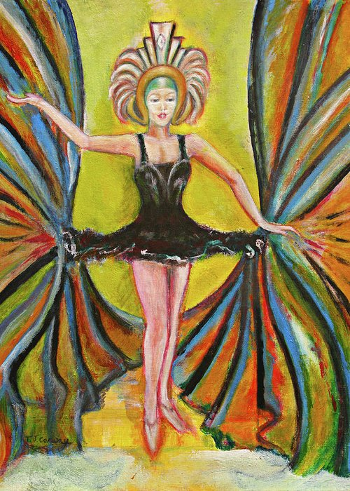 Ballet Greeting Card featuring the painting The Black Tutu by Tom Conway