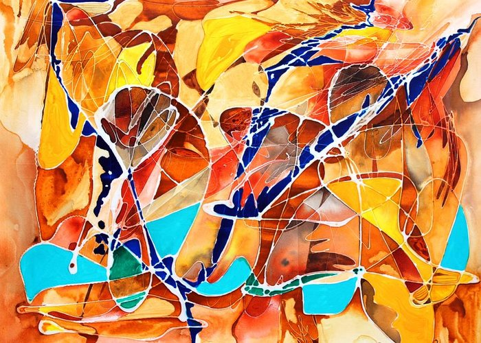 Abstract Greeting Card featuring the painting The Blue Bird by Pat Purdy