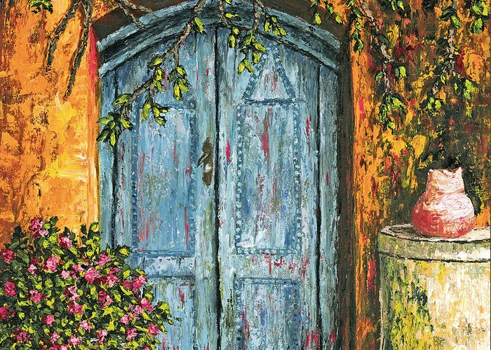 Door Greeting Card featuring the painting The Blue Door by Darice Machel McGuire