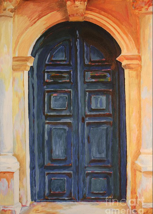 Blue Door Greeting Card featuring the painting The Blue Door Venice by Christine Dekkers