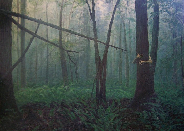 Realism Greeting Card featuring the painting The Blue-green Forest by Derek Van Derven
