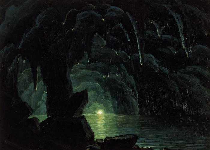The Blue Grotto Greeting Card featuring the painting The Blue Grotto by Albert Bierstadt