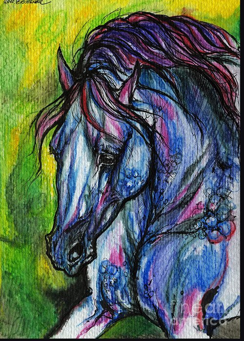 Horse Greeting Card featuring the painting The Blue Horse On Green Background by Angel Ciesniarska