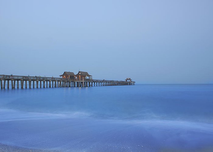 Pier Greeting Card featuring the photograph The Blue Hour by Kim Hojnacki