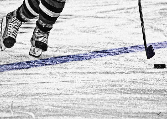 Ice Hockey Greeting Card featuring the photograph The Blue Line by Karol Livote
