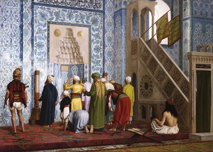 Interior Greeting Card featuring the painting The Blue Mosque by Jean Leon Gerome