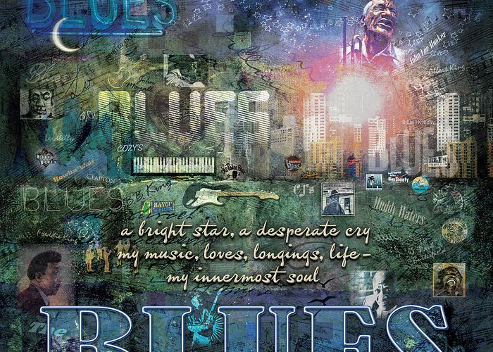 Blues Greeting Card featuring the digital art The Blues by Evie Cook
