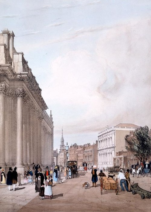 Board Of Trade Greeting Card featuring the drawing The Board Of Trade, Whitehall by Thomas Shotter Boys