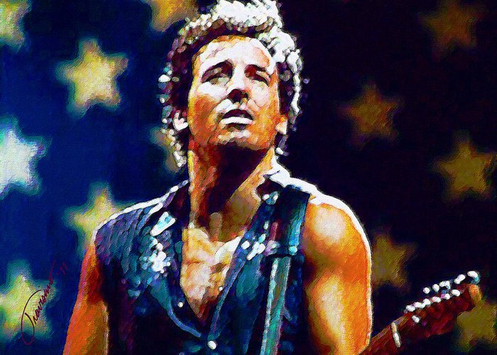 Bruce Springsteen Greeting Card featuring the painting The Boss by John Travisano