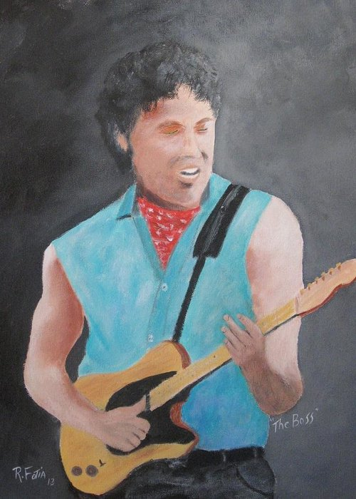 Springsteen Greeting Card featuring the painting The Boss by Rich Fotia