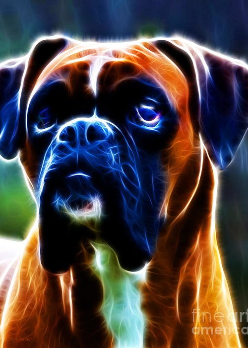Animal Greeting Card featuring the photograph The Boxer - Electric by Wingsdomain Art and Photography