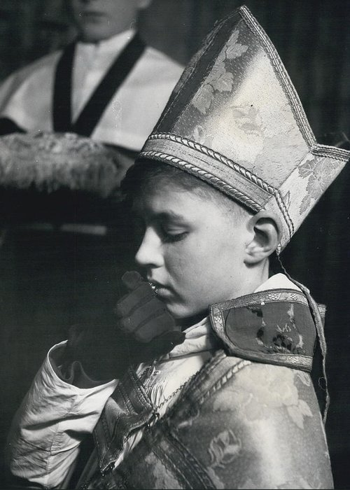 retro Images Archive Greeting Card featuring the photograph The Boy Bishop Kisses The Ring by Retro Images Archive