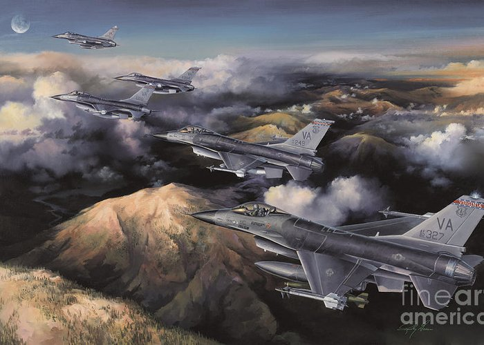 Aviation Art Greeting Card featuring the painting The Boys From Richmond by Randy Green