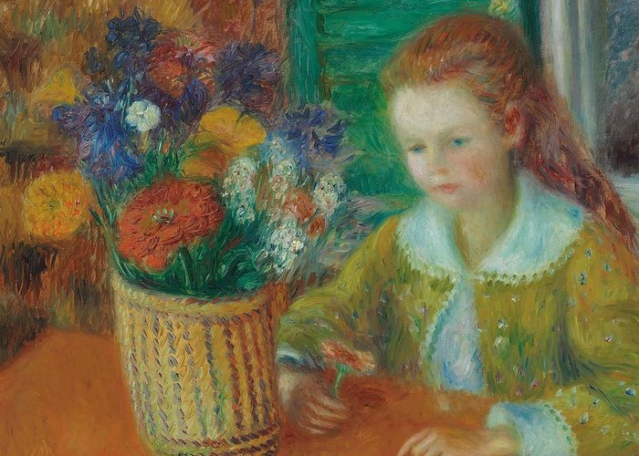 Breakfast; Porch; Impressionist; Morning; Al Fresco; Female; Young; Girl; Child; Still Life; Flowers; Basket; Bright; Colourful; Flower; Childhood; Youth; Oil Paint; Oil Painting; William; James; William James; Glackens; William James Glackens; Colorful Greeting Card featuring the painting The Breakfast Porch by William James Glackens