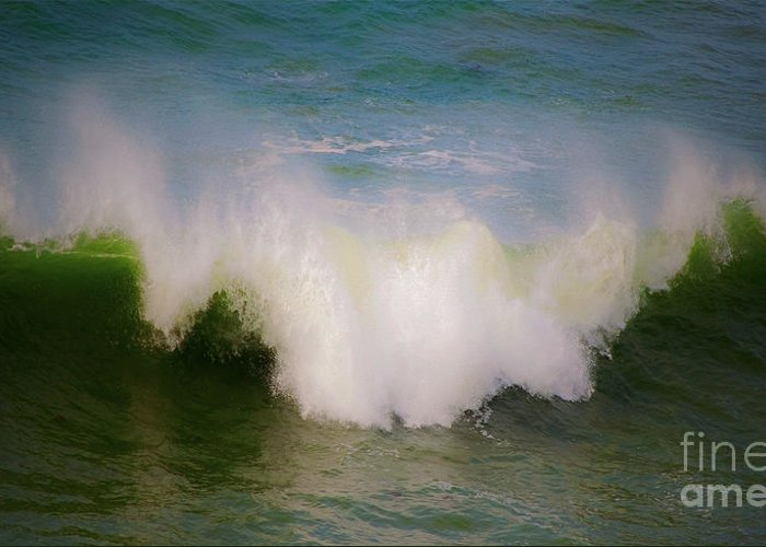 Wave Greeting Card featuring the photograph The Breaking Of A Wave ... by Gwyn Newcombe