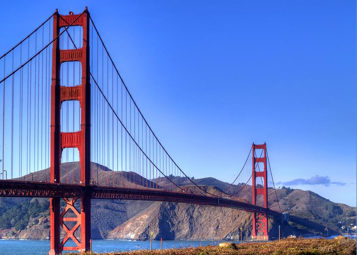 Golden Gate Bridge Greeting Card featuring the photograph The Bridge by Bill Gallagher