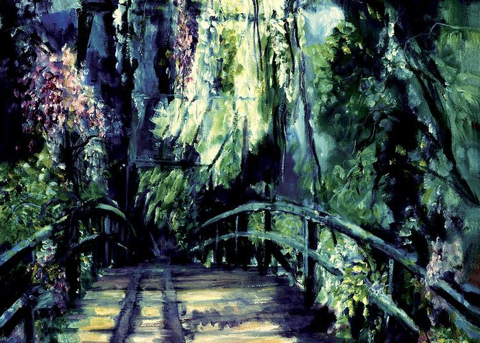 Shari Silvey Greeting Card featuring the painting The Bridge by Shari Silvey