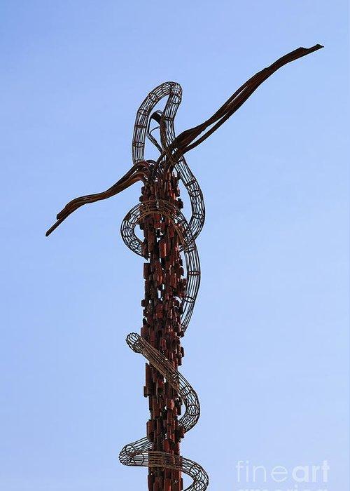 Mount Nebo Greeting Card featuring the photograph The Bronze Brazen Serpent Sculpture At Mount Nebo Jordan by Robert Preston