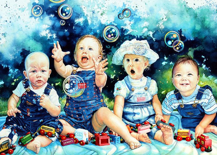 Child Portrait Greeting Card featuring the painting The Bubble Gang by Hanne Lore Koehler