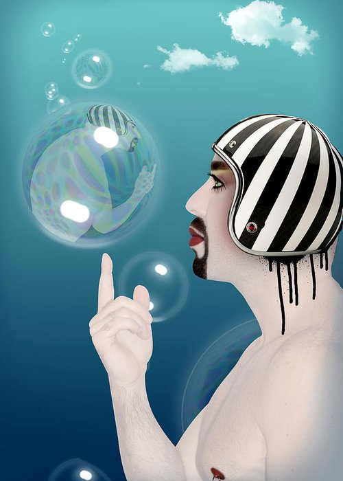 Funny Greeting Card featuring the digital art the Bubble man by Mark Ashkenazi